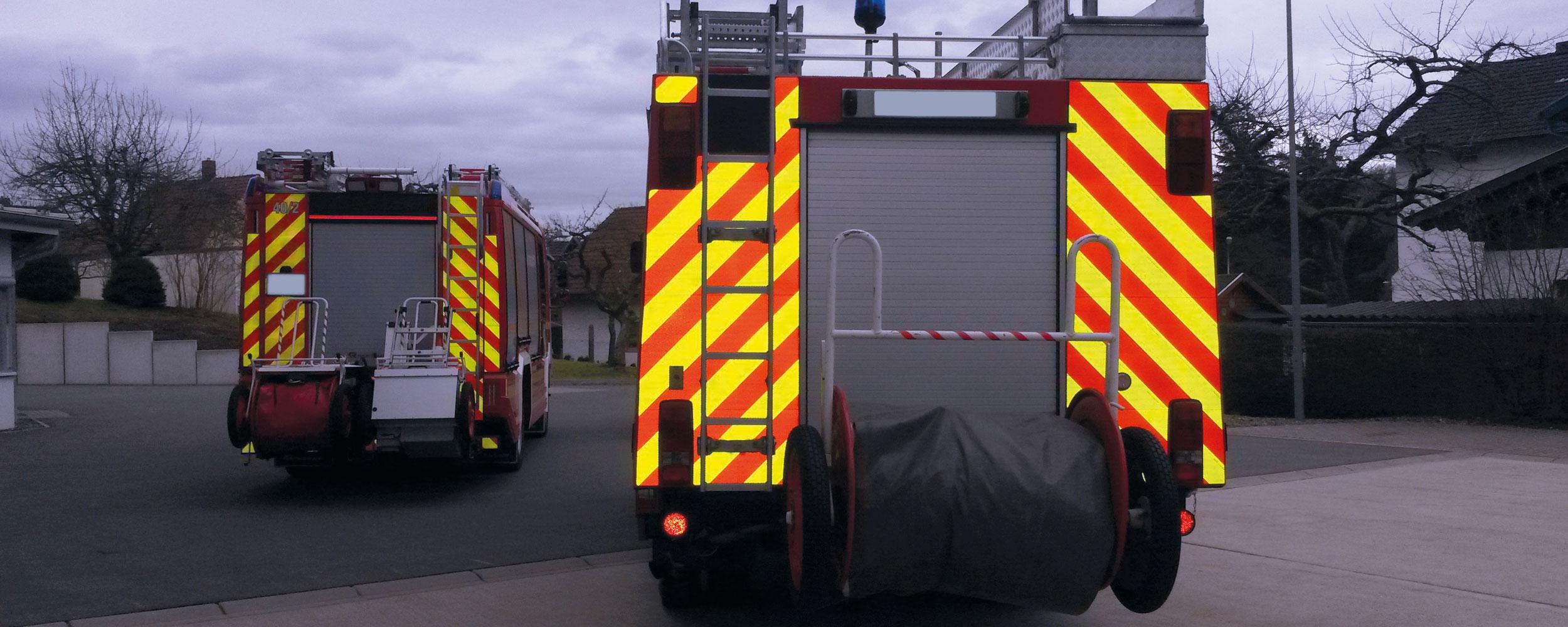 Warnmarkierung für Einsatzfahrzeuge in Coburg